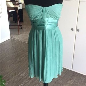 BCBGMaxAzria Strapless Chiffon Teal Dress